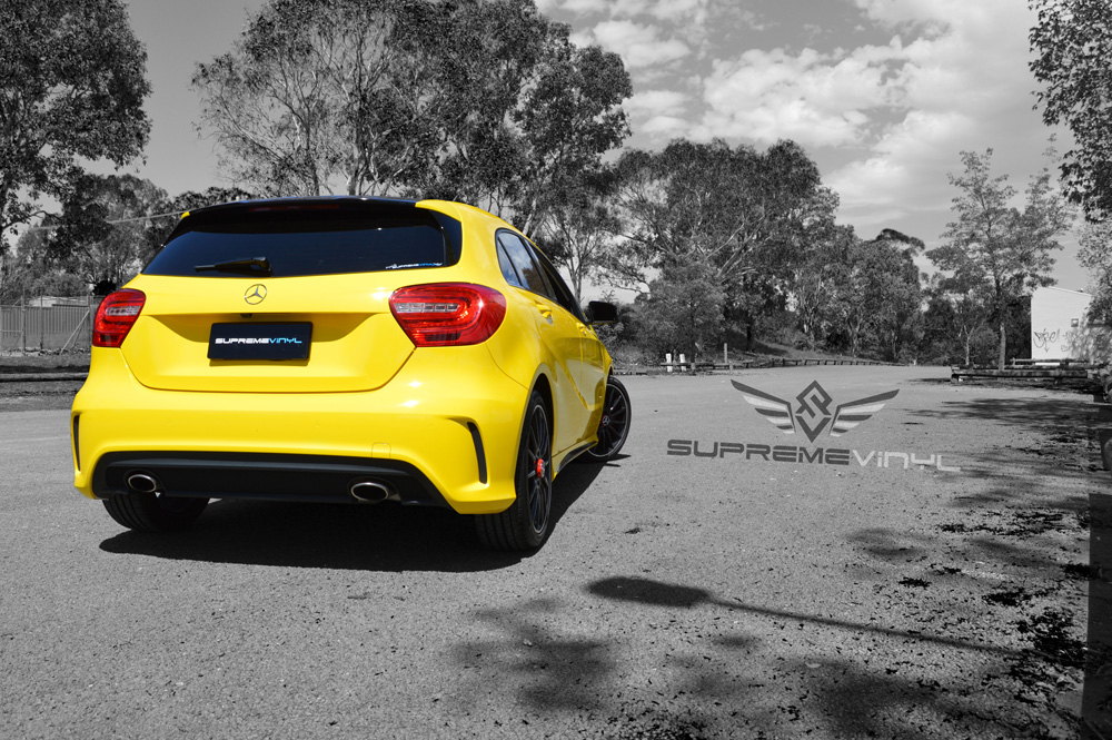 Yellow Mercedes A45
